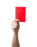Soccer red card showing isolated on white