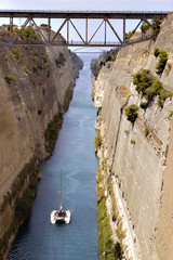 Sail boat crossing the Corinth channel, Greece