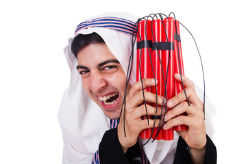 Arab man with red sticks of dynamite