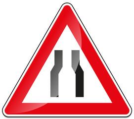 Fahrbahn Fahrbahnverengung Verkehrszeichen Verkehrsschild