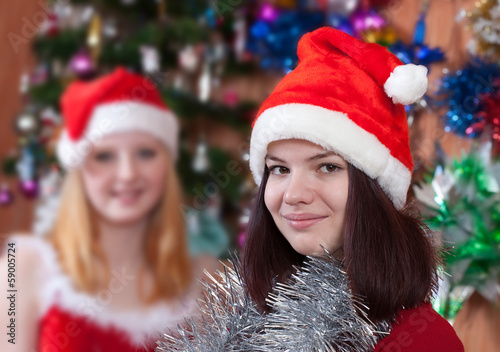 portrait of girls in Christmas hats