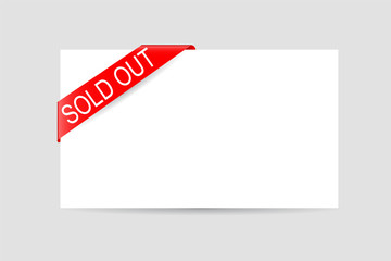 Sold Out Text at Red Shiny Tape and Blank Card