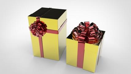 Boîtes Cadeaux Or - Ruban Rouge