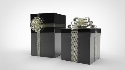 Boîtes Cadeaux Noires - Ruban Argent