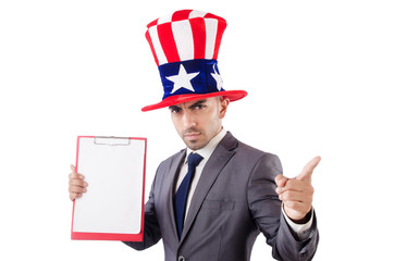 Man with binder isolated on the white background