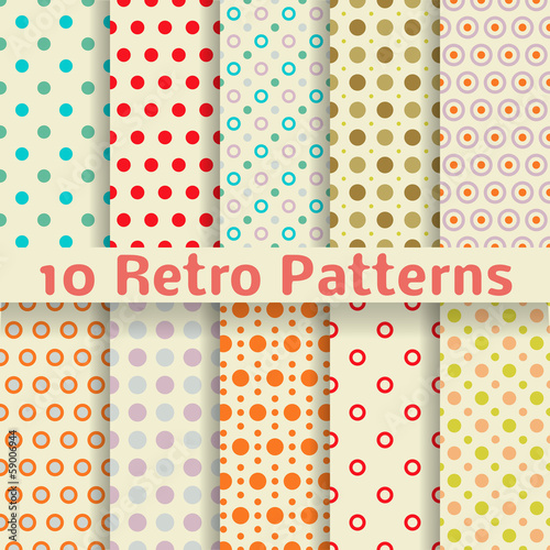 Retro dot vector seamless patterns (tiling).