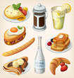 Set of traditional french breakfast elements and dishes