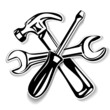 hammer and screwdriver , wrench icon. vector illustration
