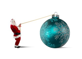 Santa Claus with big Christmas ball