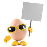 Egg has a placard
