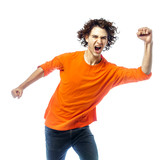 young man screamming happy portrait