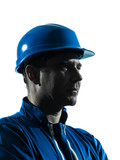 man construction worker profile sideview silhouette portrait