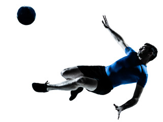 man soccer football player flying kicking silhouette