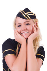 Young flight attendant isolated on the white
