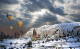 Hot air balloon flying over spectacular Cappadocia