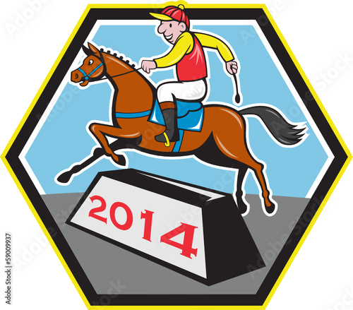 Year of Horse 2014 Jockey Jumping Cartoon