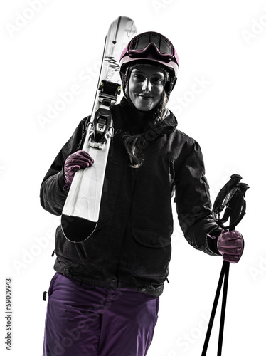 one woman skier portrait silhouette