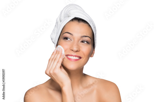 Beautiful Woman Removing Make-Up