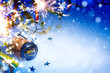 art Christmas and 2014  New year party background