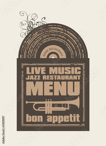 menu for the restaurant with jazz music