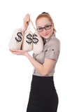 Young businesswoman with money sacks on white