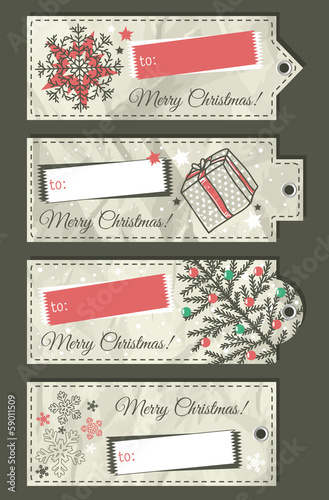 crumple christmas labels with place for text, vector