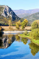 View of Nestos river and landscape on autumn