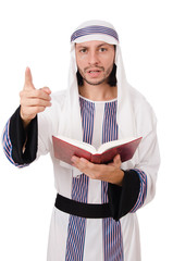 Arab man with book isolated on white
