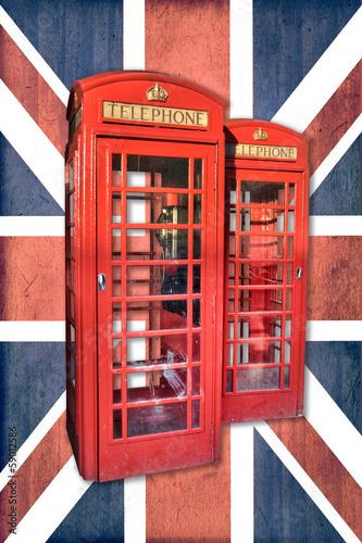 Cabine téléphonique à Londres, fond Union Jack