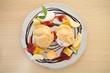 choux cream ice cream with fruits