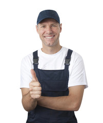 Portrait of smiling worker in blue uniform isolated on white bac