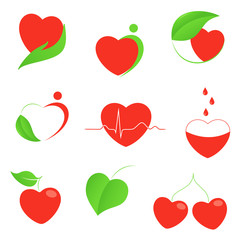 Set of hearts icons with health and eco motifs
