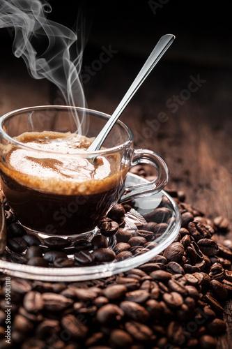 Fotobehang Cafe caffè espresso fumante