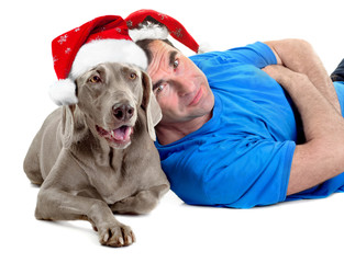 Happy Santa man with his dog