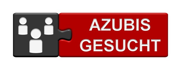 Puzzle-Button grau rot: Azubis gesucht
