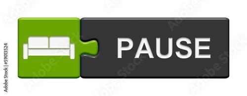 Leinwandbild Motiv Puzzle-Button grün grau: Pause
