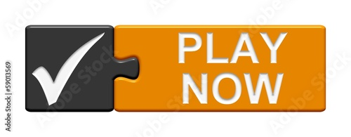 Puzzle-Button grau orange: Play now