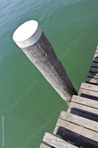 mooring post at the lake