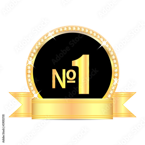 medal with number one and golden ribbon isolated on white backgr