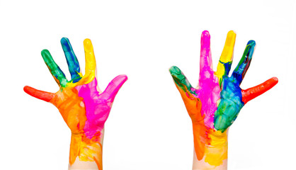 Painted child hands colorful fun isolated on white