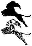 winged fantasy lion design - jumping or flying animal