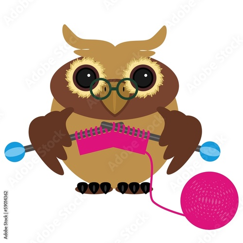 nice owl knitting on white background