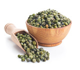 green peppercorn isolated on white