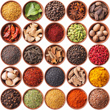 collection of different spices and herbs isolated on white - 59014755
