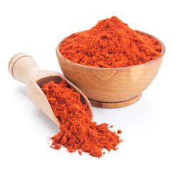red ground paprika isolated on white