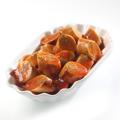 Currywurst sliced
