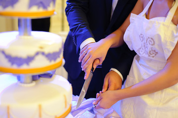 newlyweds ready to cut wedding cake