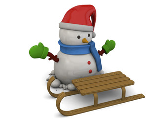 Snowman and Sled - 3D
