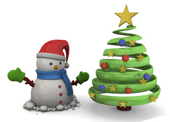 Snowman and Christmas Tree - 3D