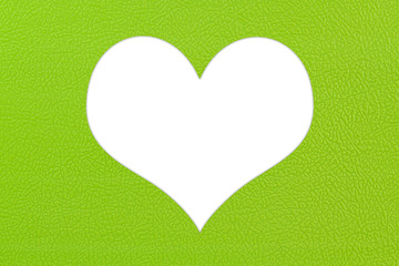 Green plastic texture in heart shape